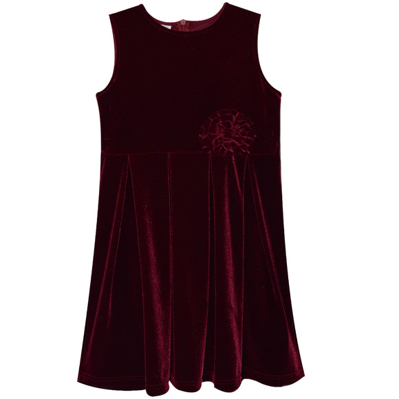 Burgundy Stretch Velvet Sleeveless Dress