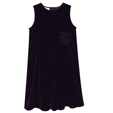 Black Stretch Velvet Sleeveless Dress