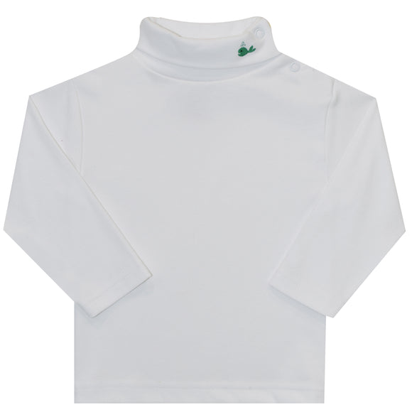 Whale Embroidered White Knit Long Sleeve Turtle Neck