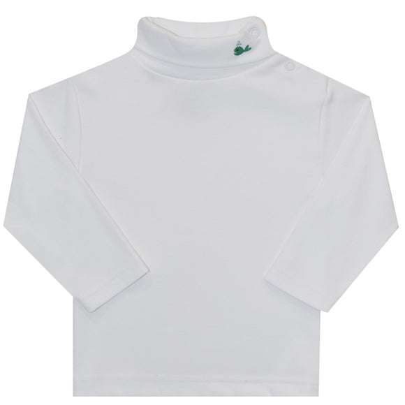 Whale Embroidered White Long Sleeve Knit Turtle Neck