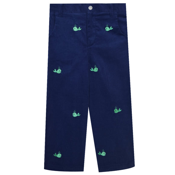 Whales Embroidered Corduroy Pants