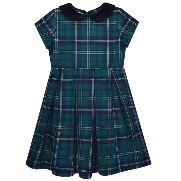Teal and Navy Plaid Pleated Dress Short Sleeve