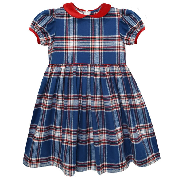Red and Blue and White Plaid Dress Short Sleeve