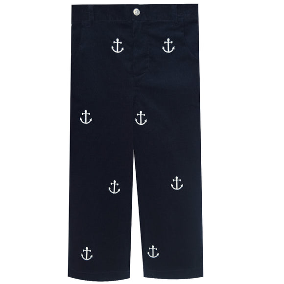 Simi Anchor Embroidered Navy Corduroy Pants