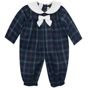 Navy and Green and Red Plaid Boys Sailor Longall