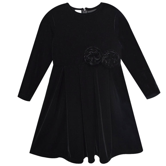 Black Stretch Velvet Dress Long Sleeve