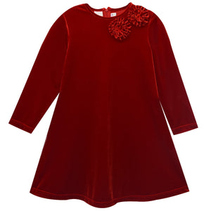 Red Stretch Velvet Tunic Long Sleeve