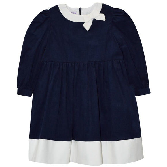 Navy Corduroy Dress With Bow Long Sleeve