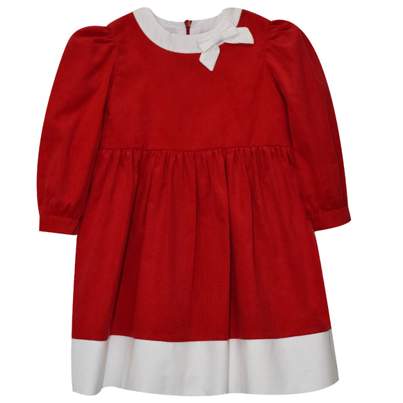 Red Corduroy Dress With Bow Long Sleeve