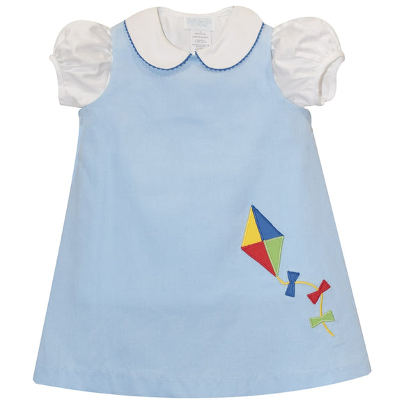 Applique Kite Girls Light Blue Corduroy Short Sleeve Jumper with Blouse