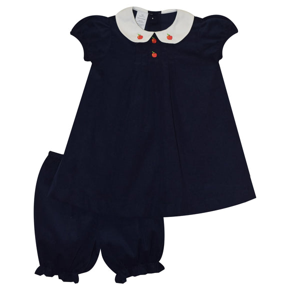 Embroidered Apples Girls Navy Corduroy Dress and panty