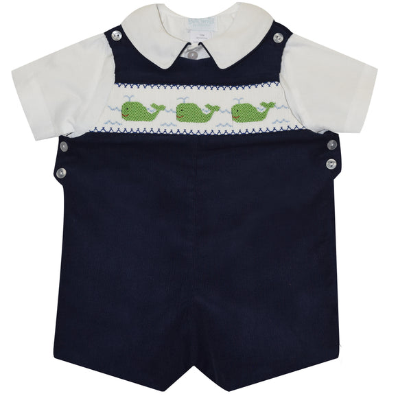 Whales Smocked Navy Corduroy Boys Shortall and White Shirt