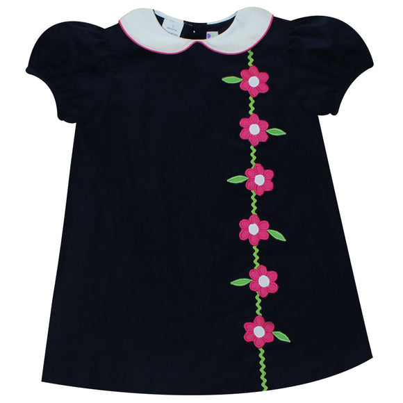 Applique Flower Girls Navy Corduroy Short Sleeve Dress