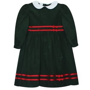 Hunter Green Corduroy With Ribbon Dress Long Sleeve