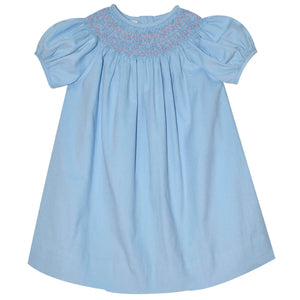 Smocked Light Blue Girls Short Sleeve Bishop Dress