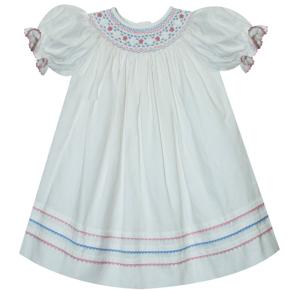 Anne Smocked White Corduroy Girls Bishop Short Sleeve
