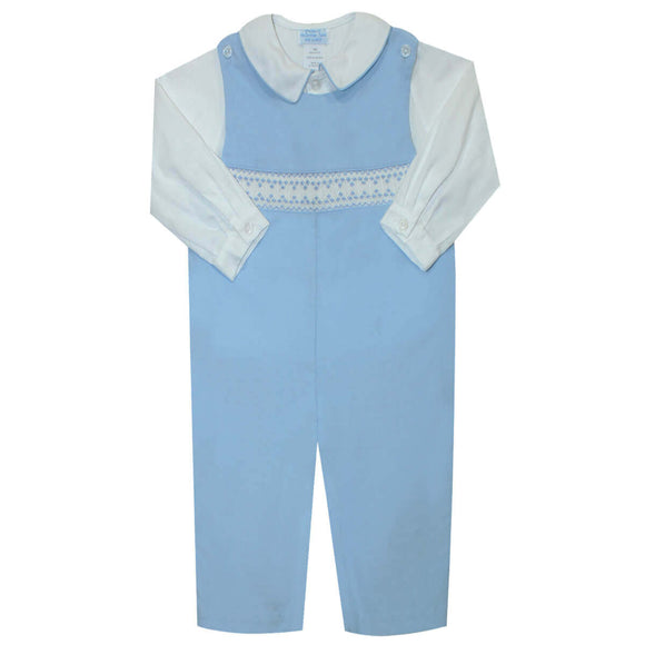 Andy Smocked Lt Blue Corduroy Boys Overall and Shirt