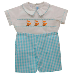 Embroidered Foxy Shadow Boys Aqua Big Check Short Sleeve Short Set