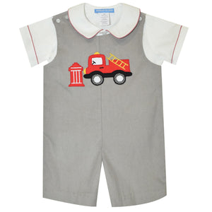 Firetruck Applique Gray Corduroy Boys Shortall and Shirt