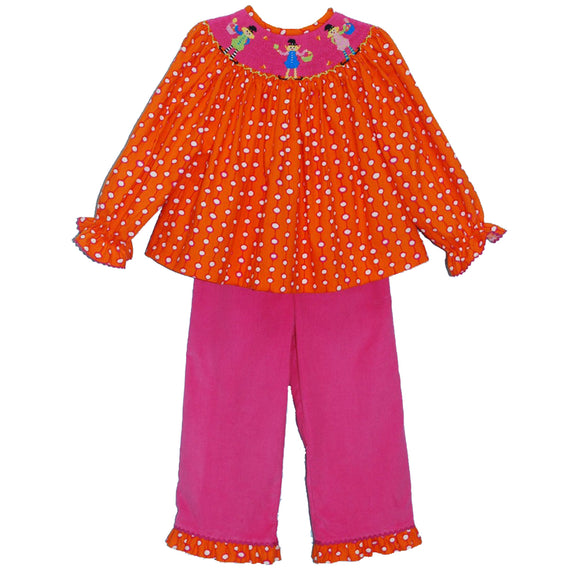 Smocked Abracadabra Girls Pant Set