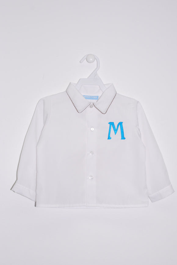 White with Brown piping Button Front Shirt