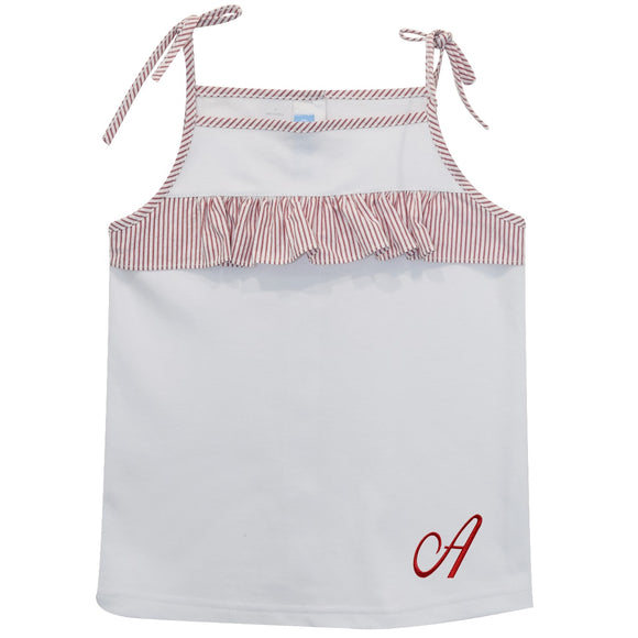 White Top with Red Monogram plaid ruffle
