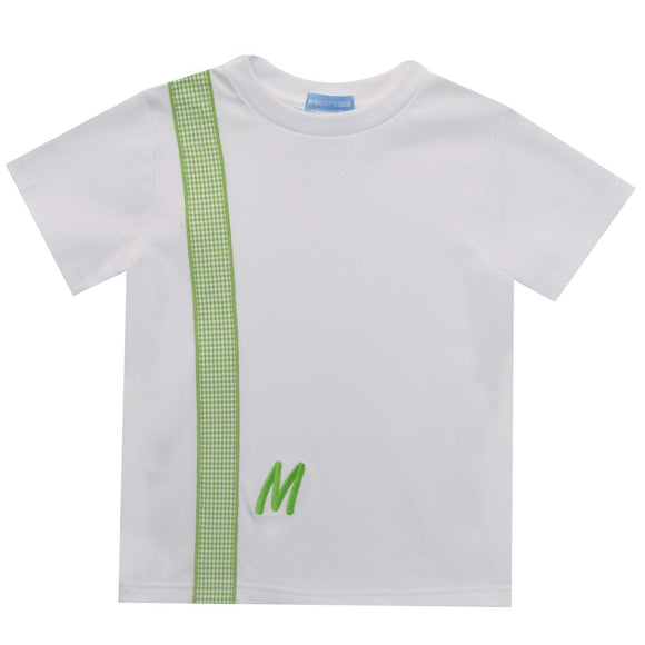 White Tee with Green Monogram