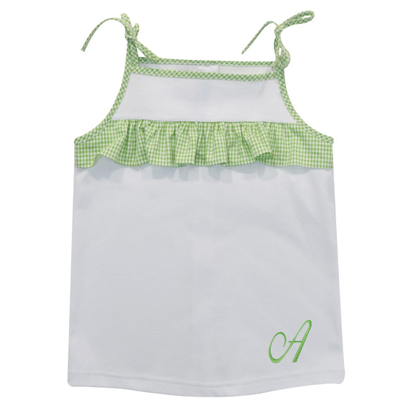 White Top with Green Monogram plaid ruffle
