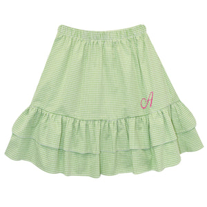 Green Check Seer Ruffle Skirt