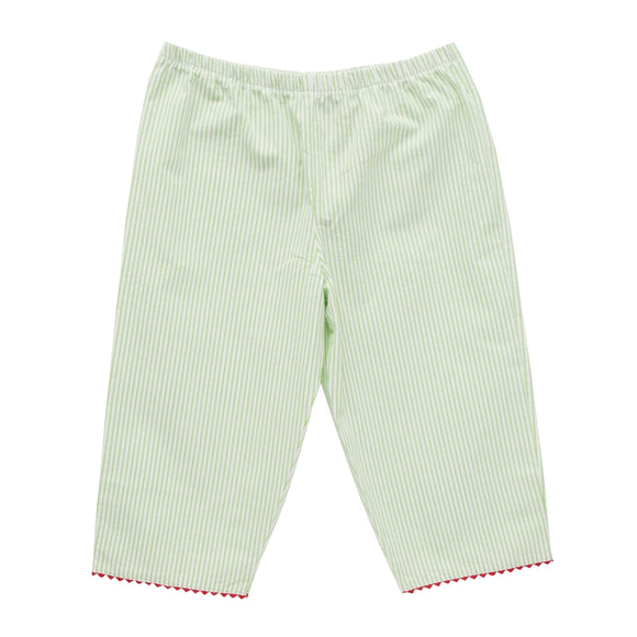 Lime Green Stripe Girls Capri Pants