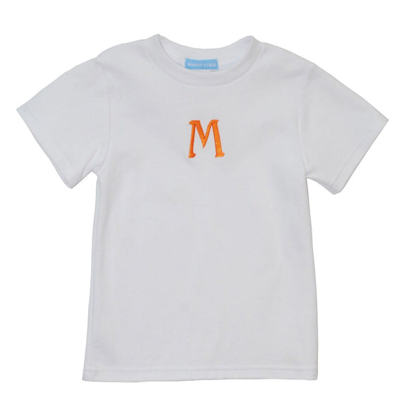 White Tee Shirt with orange monogram