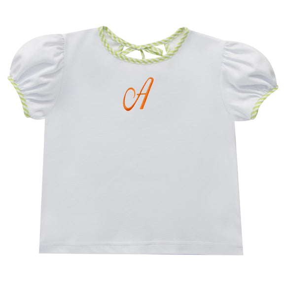 White with Monograms Knit Blouse
