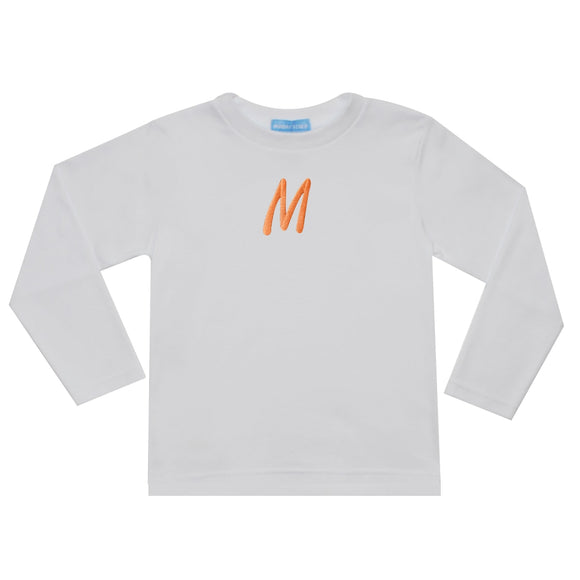 White With Orange Monogram T-shirt