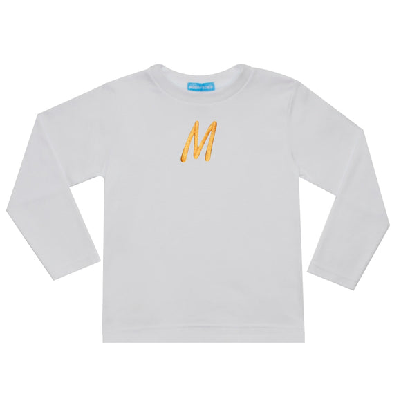 White With Yellow Monogram T-shirt
