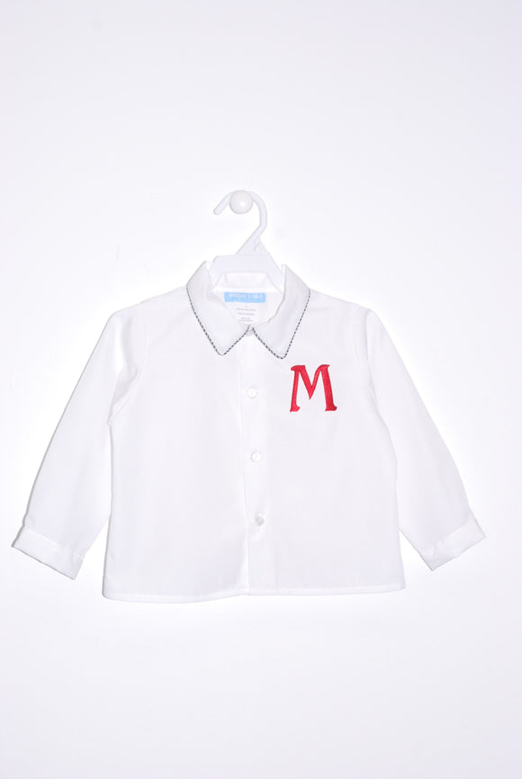 White with Black piping Button Front Shirt