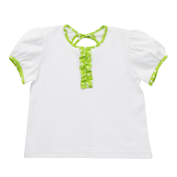 White and Lime Green Knit Blouse