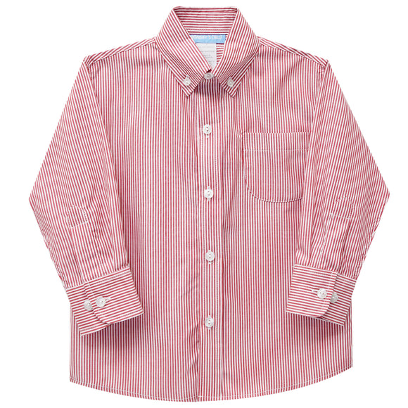 Red Stripe Button Down Long Sleeve Shirt