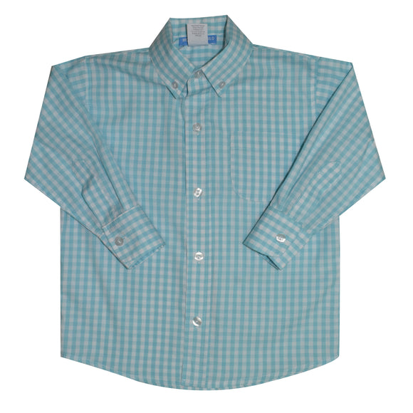 Aqua Big Check Button Down Shirt Long Sleeve