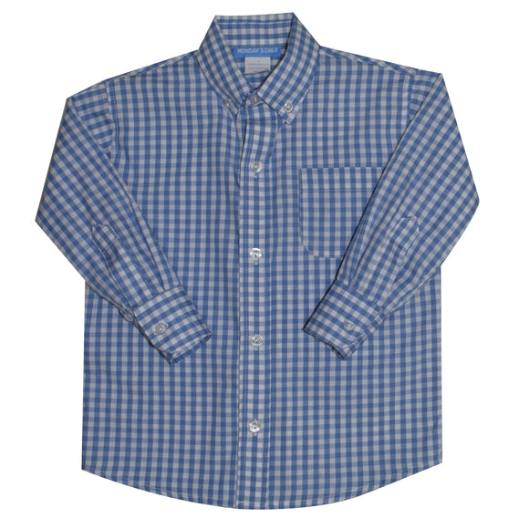 Blue Big Check Button Down Shirt Long Sleeve