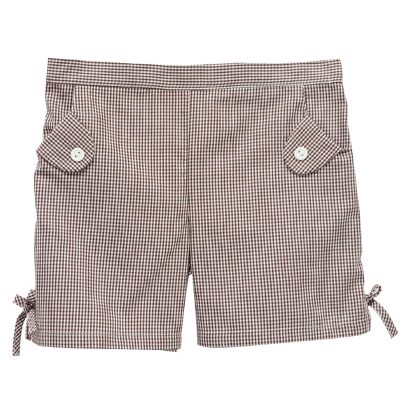 Brown Check Girls Short