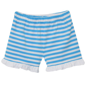 Turquoise and White Stripe Knit Girls Short