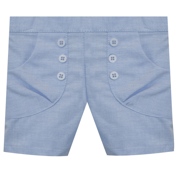 Light Blue Oxford Girls Short Front Pocket