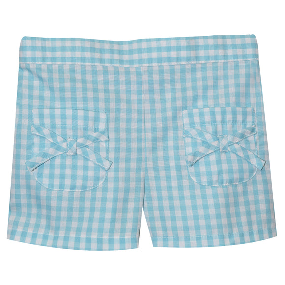 Aqua Big Check Girls Short With Pockets