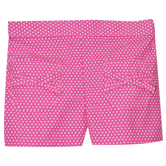 Pink With White Dots Girls Short With Pockets