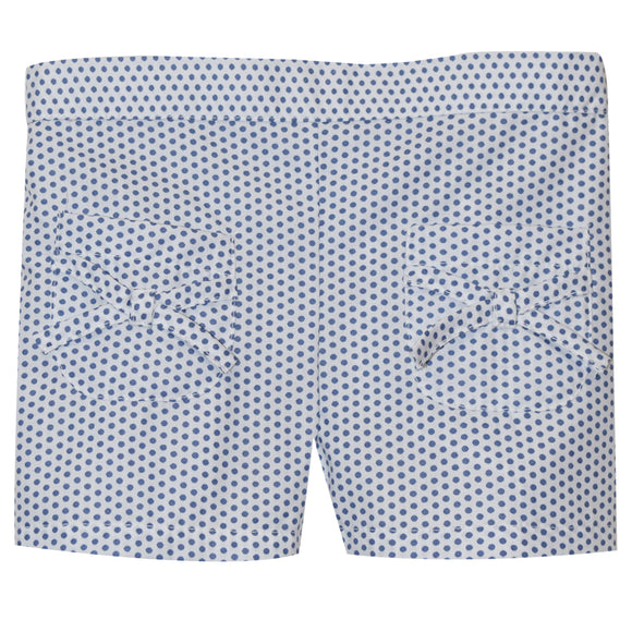 White With Blue Dots Girls Short With Pockets