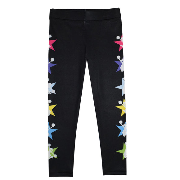 Cheerleader Multicolor Stars Black Leggings
