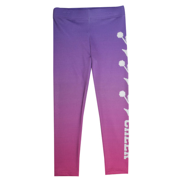 White Cheer Purple and Pink Leggings