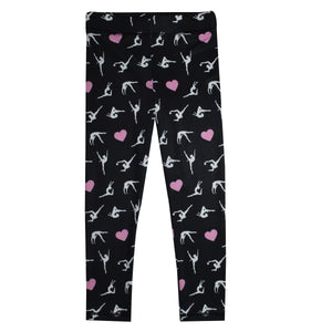 Gymnast and Hearts Print Black Leggings