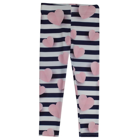 Hearts Print White And Navy Stripes Leggings