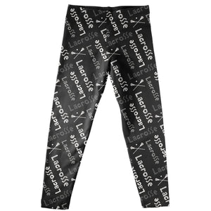 Lacrosse Print Black Leggings